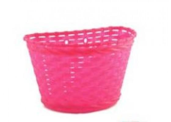 Καλάθι πλαστικό παιδικό πλεκτό ροζ