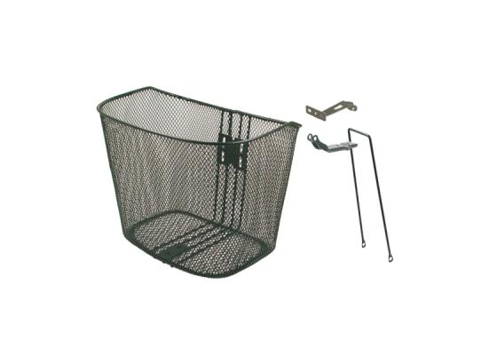 Front steel basket, black, with black fitting sets